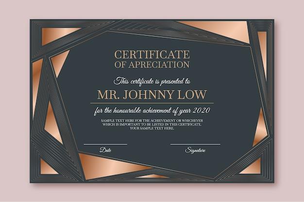 Modelo de certificado geométrico abstrato