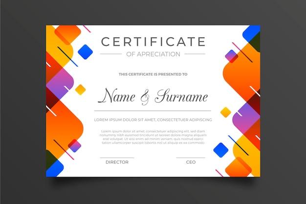 Modelo de certificado geométrico colorido