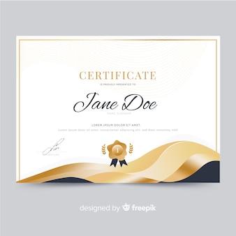 Modelo de certificado lindo com formas de ouro