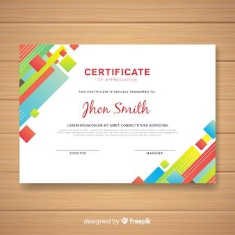 Modelo de certificado moderno com design abstrato