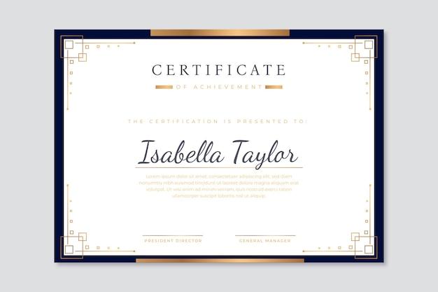 Modelo de certificado moderno com design elegante