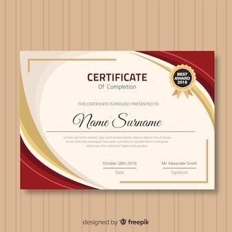 Modelo de certificado moderno com design plano