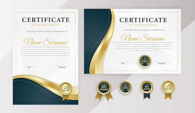 Modelo de certificado moderno com emblemas