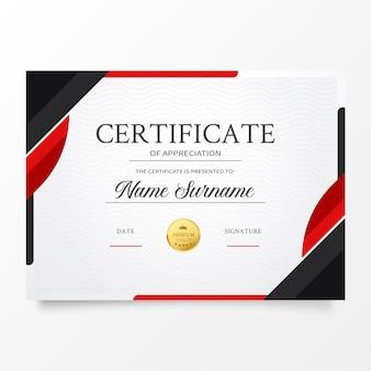 Modelo de certificado moderno com formas vermelhas abstratas