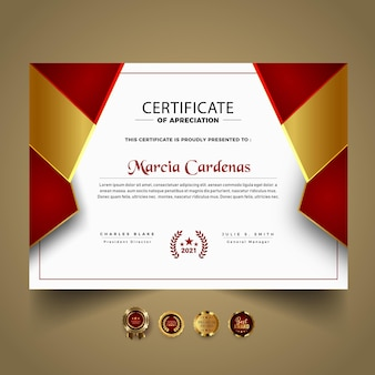 Modelo de certificado moderno com formas vermelhas