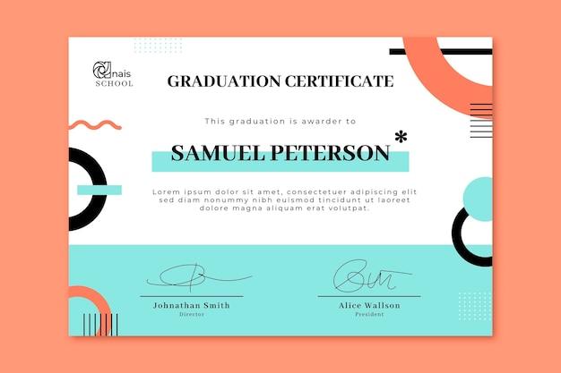 Modelo de certificado moderno de design plano