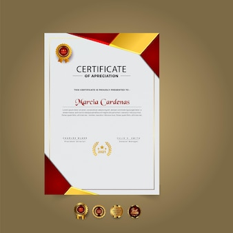 Modelo de certificado moderno de gradiente design premium