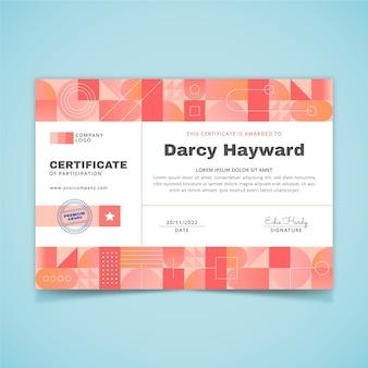 Modelo de certificado moderno de gradiente