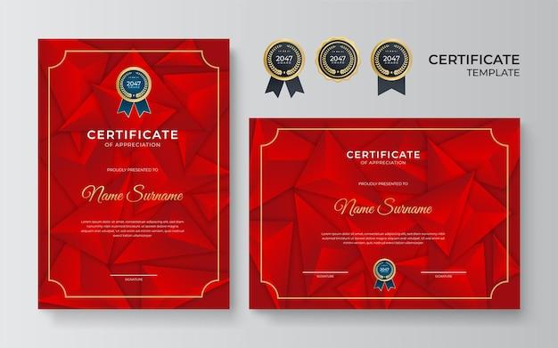 Modelo de certificado moderno. diploma de design de luxo ou vale-presente. ilustração vetorial no tema de cores vermelho e dourado