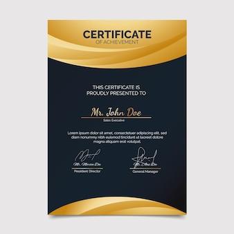 Modelo de certificado moderno e elegante de gradiente