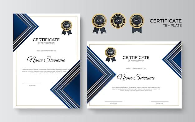 Modelo de certificado moderno e elegante em azul e ouro
