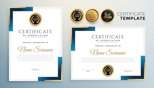 Modelo de certificado moderno em design de estilo geométrico