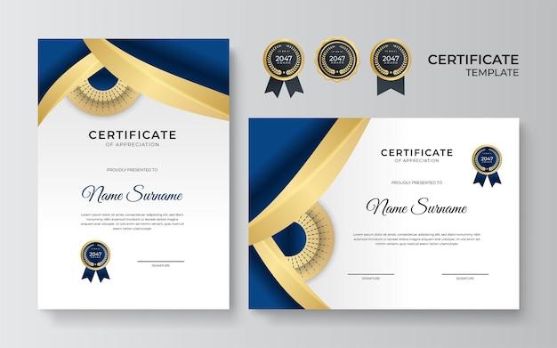 Modelo de certificado moderno na cor azul e ouro. conjunto de modelo de diploma ou prêmio de certificado azul de luxo de desenho de retrato e paisagem em tamanho a4. terno para negócios, educação, prêmio e muito mais
