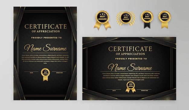 Modelo de certificado moderno preto e dourado