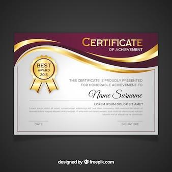 Modelo de certificado na cor dourada