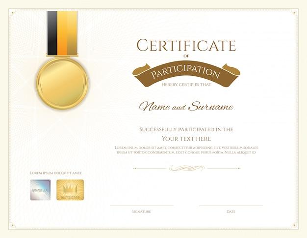 Modelo de certificado no tema do esporte com armação de borda, design de diploma