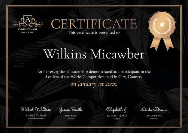 Modelo de certificado ornamental de luxo em preto e dourado