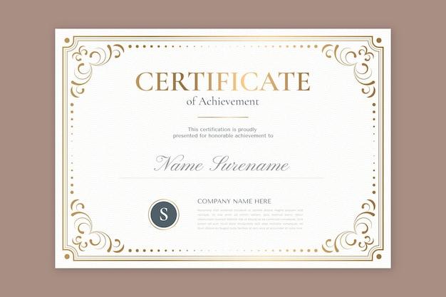 Modelo de certificado ornamental desenhado à mão para gravura