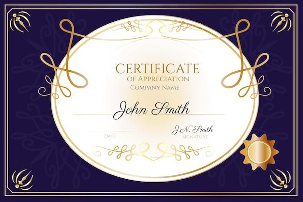 Modelo de certificado ornamental desenhado à mão
