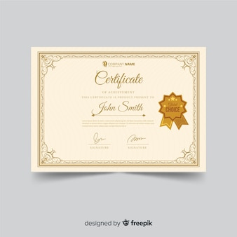 Modelo de certificado ornamental em estilo vintage