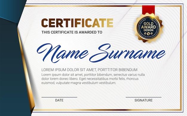 Modelo de certificado ou diploma com padrão de linha de luxo e emblema do prêmio ouro