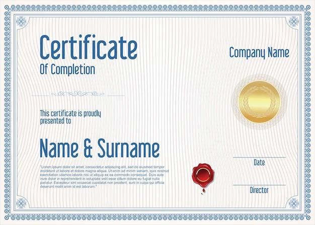 Modelo de certificado ou diploma retro vintage