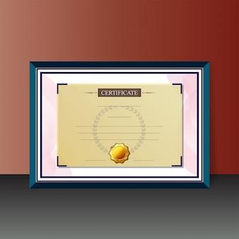 Modelo de certificado ou prêmio em branco com selo dourado no quadro.