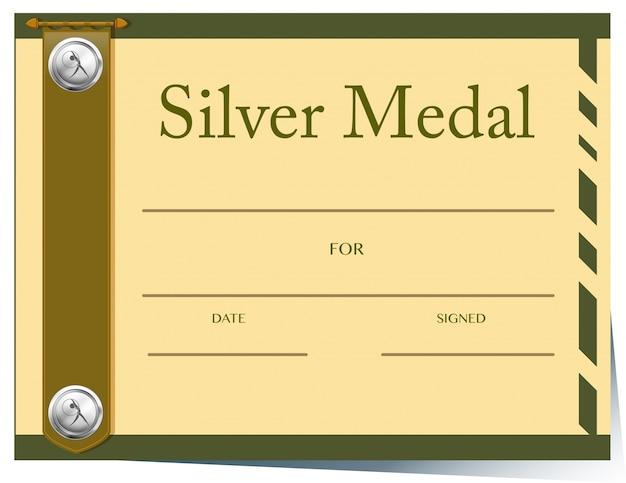 Modelo de certificado para a medalha de prata