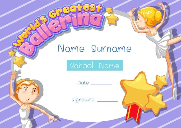 Modelo de certificado para a melhor bailarina do mundo