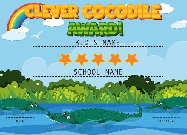 Modelo de certificado para crocodilo inteligente com crocodilos no fundo