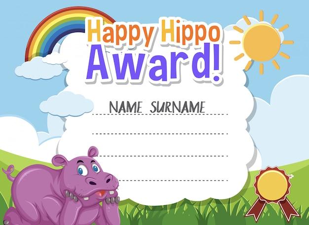 Modelo de certificado para feliz prêmio com hipopótamo