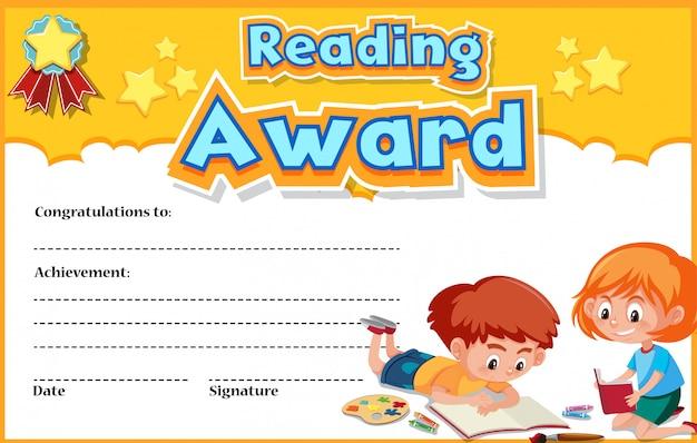 Modelo de certificado para leitura de prêmio com crianças lendo no fundo