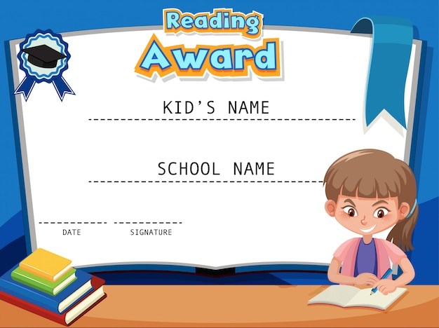 Modelo de certificado para leitura de prêmio com livro de leitura de menina