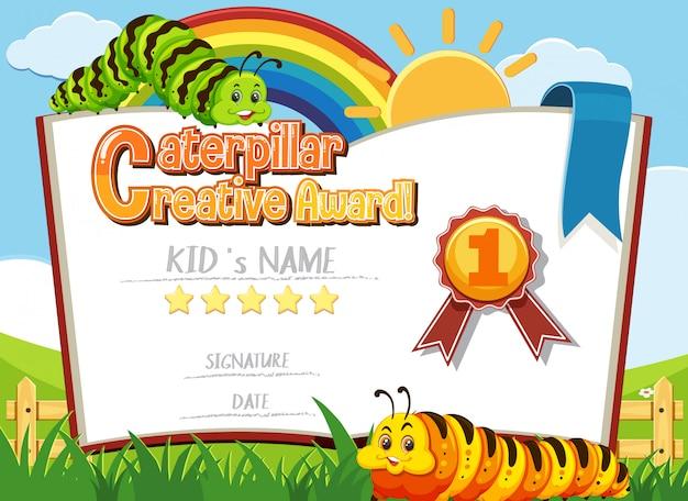 Modelo de certificado para o prêmio criativo da lagarta com lagartas em