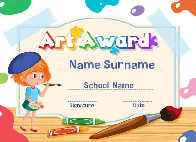 Modelo de certificado para o prêmio de arte com criança pintando no fundo
