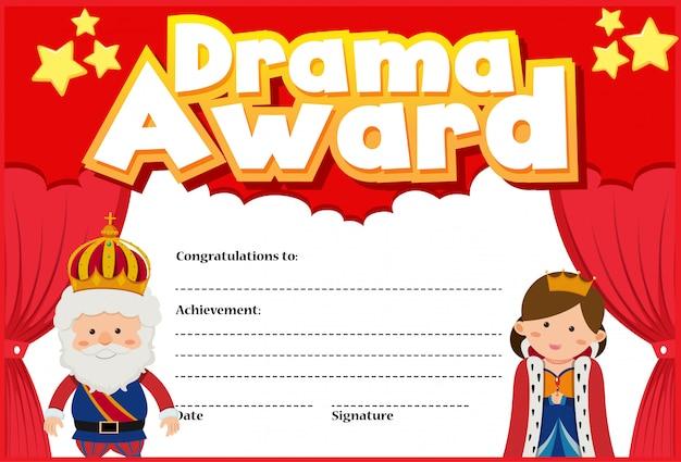 Modelo de certificado para o prêmio de drama com rei e rainha
