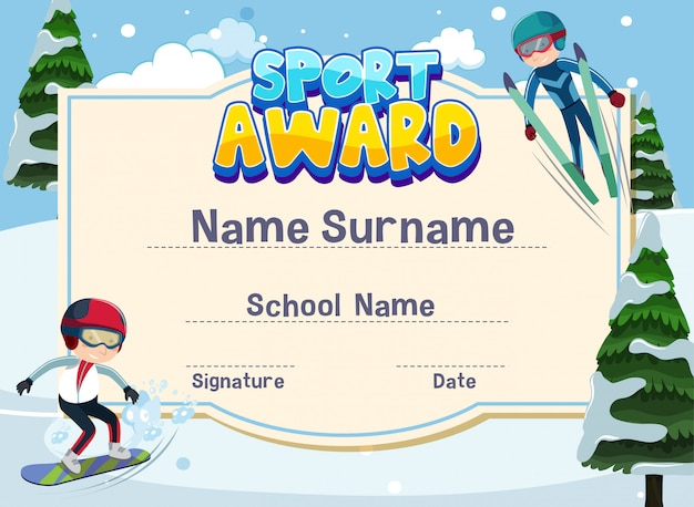 Modelo de certificado para o prêmio de esporte com crianças brincando de esqui