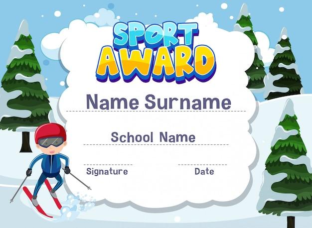 Modelo de certificado para o prêmio de esporte com menino esquiar em