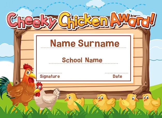 Modelo de certificado para o prêmio de frango atrevido com galinhas no campo