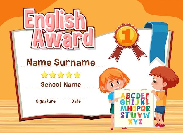 Modelo de certificado para o prêmio de inglês com crianças em