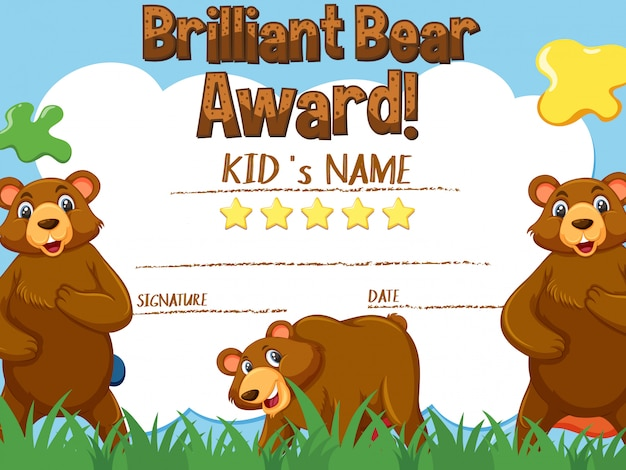 Modelo de certificado para o prêmio urso brilhante