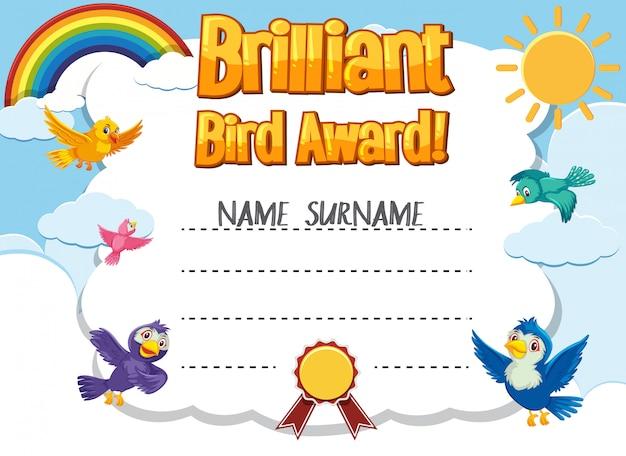Modelo de certificado para prêmio brilhante com pássaros voando no fundo