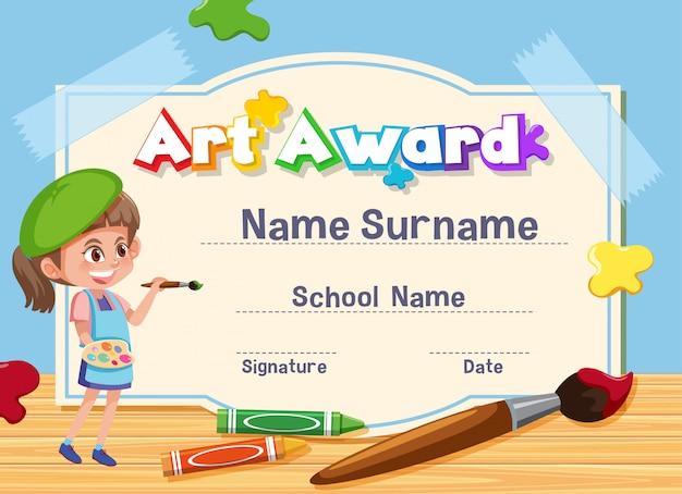 Modelo de certificado para prêmio de arte com pintura infantil