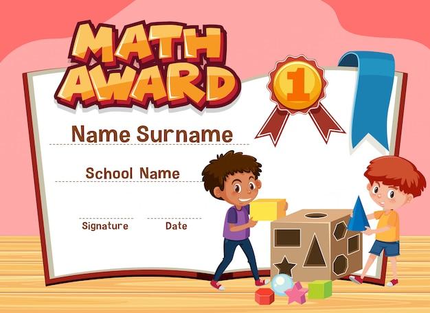 Modelo de certificado para prêmio de matemática com meninos jogando blocos