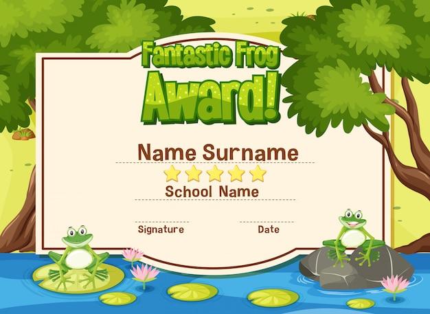 Modelo de certificado para prêmio fantástico com sapos na lagoa