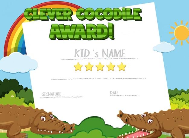 Modelo de certificado para prêmio inteligente com crocodilo em