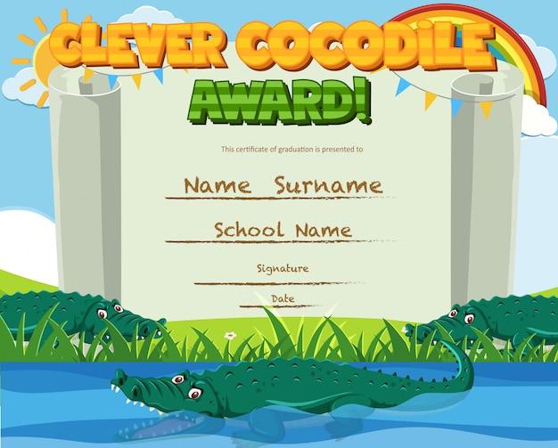 Modelo de certificado para prêmio inteligente com crocodilo na lagoa