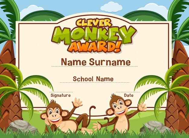 Modelo de certificado para prêmio inteligente com macacos no fundo