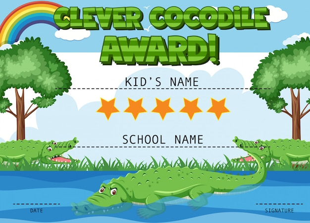 Modelo de certificado para prêmio inteligente de crocodilo com crocodilos na lagoa