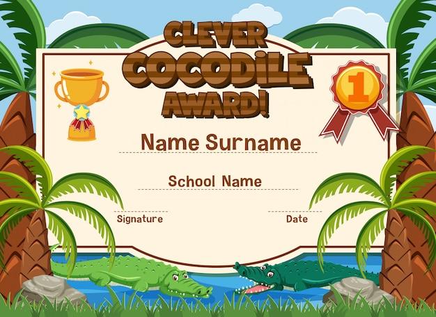 Modelo de certificado para prêmio inteligente de crocodilo com crocodilos
